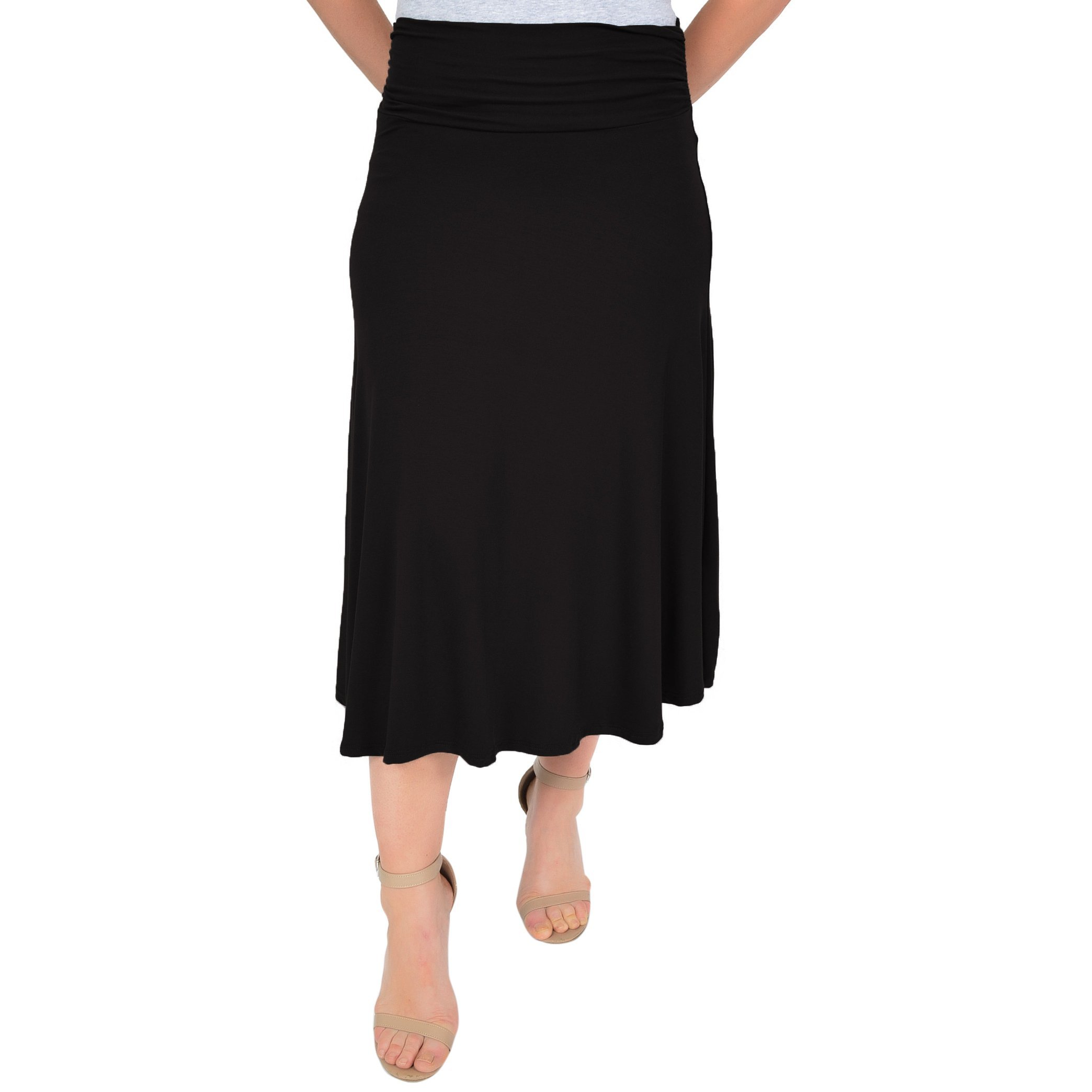 Stretch is Comfort Women's Mandy Midi Flowy Skirt Black 2X