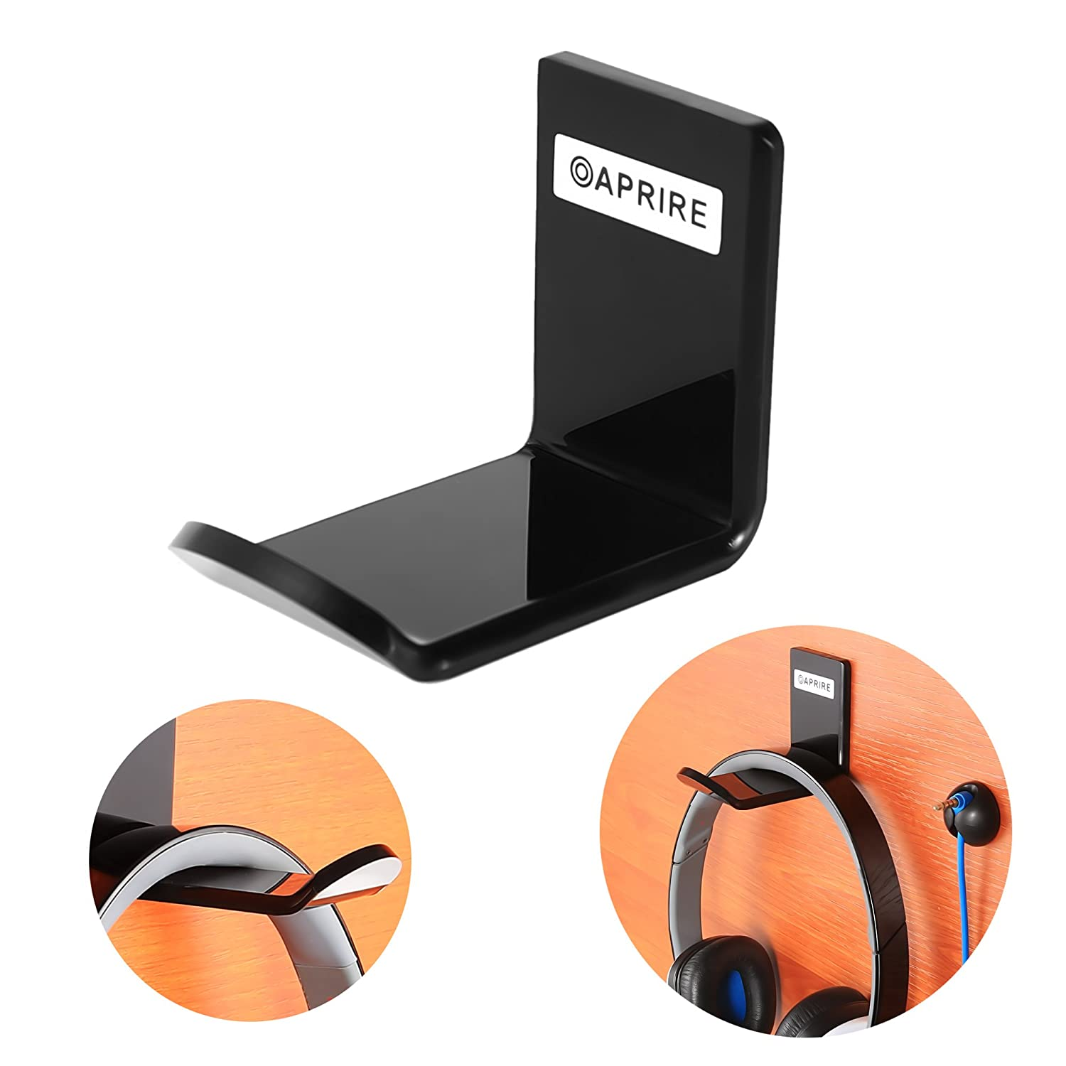 Headphone Stand Hanger Wall Mount - Pack of 2 OAPRIRE Acrylic Headphone Holder Hook, Stick-On Gaming Headset Stand with Cable Clips (Black) HH-88000