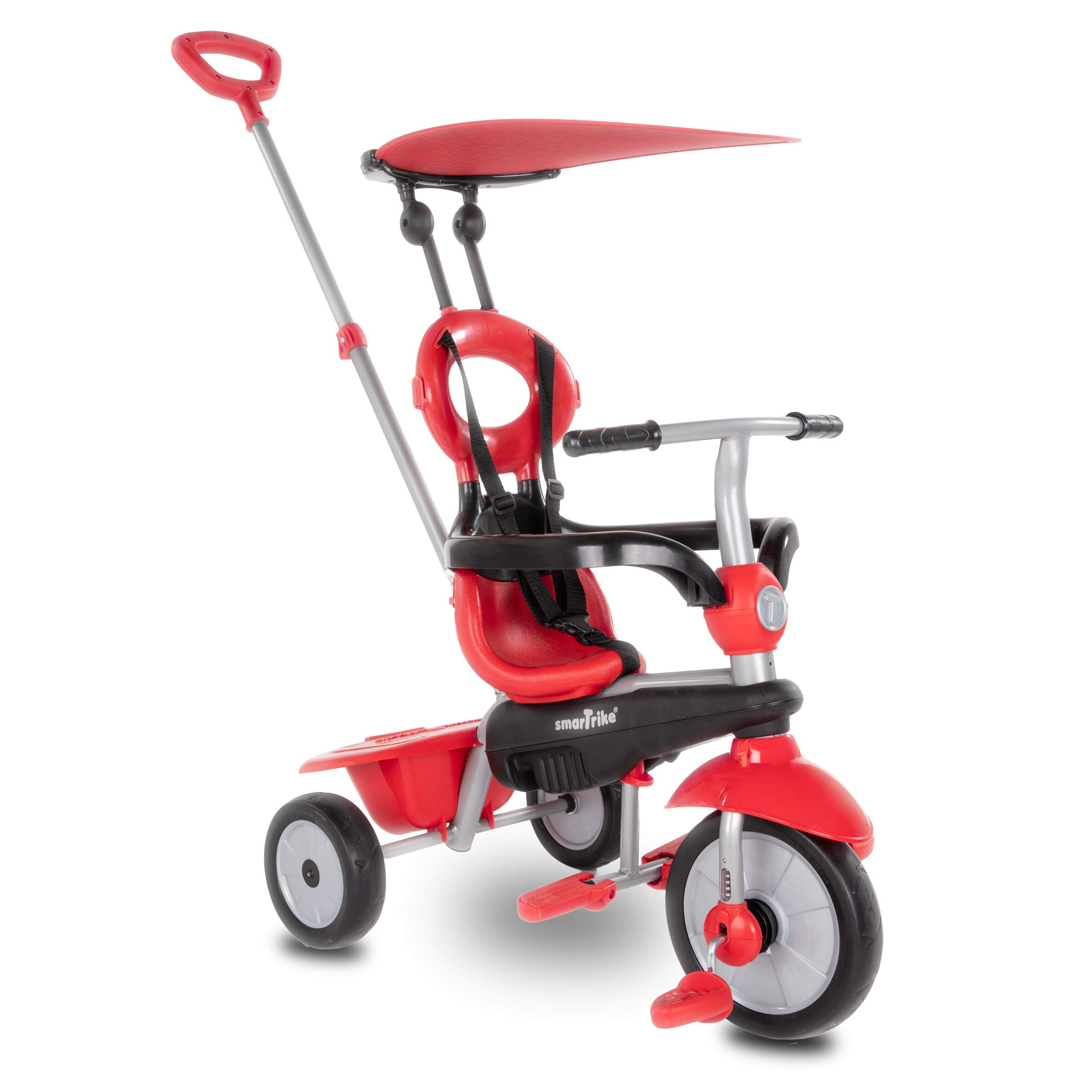 smarTrike Zoom 4 in 1 baby Tricycle, Red (Renewed)