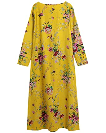Chiffoned Women Spring Dresses Plus Size Cotton Linen Maxi Dress Vintage Loose Floral Print Beach Robe