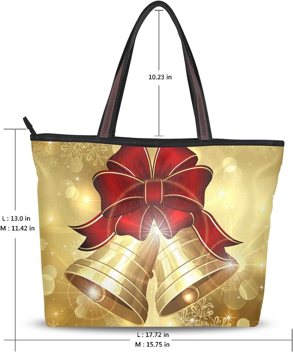 imobaby Womens Two Christmas Bells Large Tote Shoulder BagsTop Handle Handbag TR139