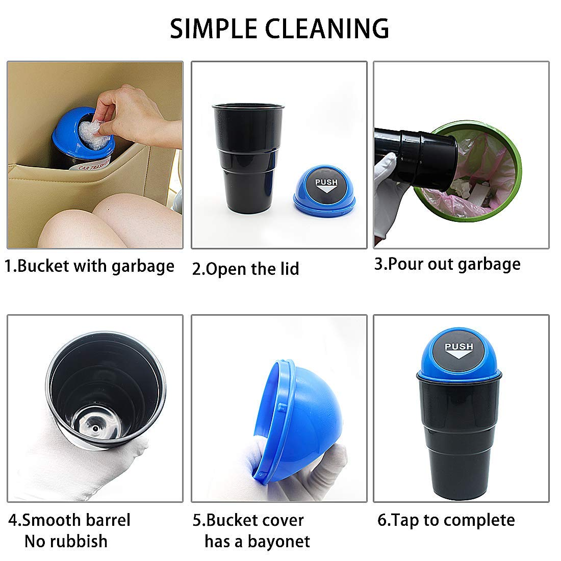 Red Easyinsmile Car Trash Bin Mini Anto Rubbish Bin Can Carbage Automotive Waste Storage Vehicle Trash Bins Dust Case Storage Holder Common Use for Auto Car Office Home