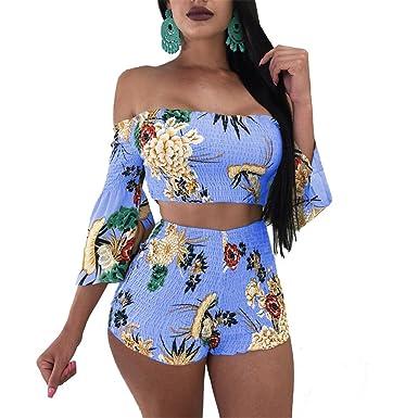 1ca429231 Amazon.com  Women 2pcs Suits Off Shoulder Crop Top Shirts + Shorts Pants  Set Boho Maxi Dress  Clothing