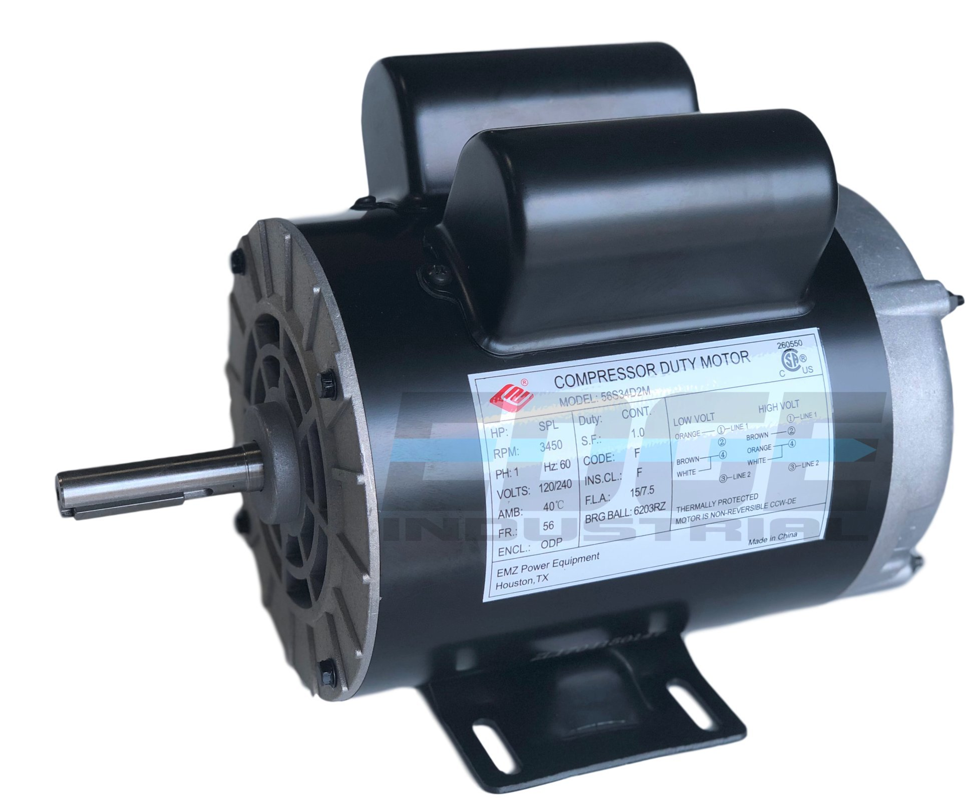 NEW 2 HP SPL Compressor Duty Electric Motor, 3450 RPM, 56 Frame, 5/8'' Shaft Diameter,120/240 VOLT by EDGE INDUSTRIAL EMZ (Image #1)