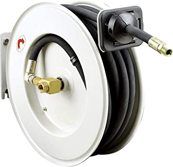 REELWORKS Spring Rewind Oil Hose Reel with  1//2 inch X 50 ft SAE 100R1 Hose