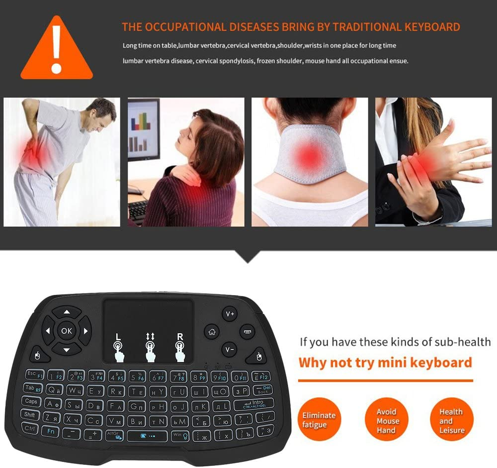 Calvas Russian//EN//ES 2.4GHz Wireless Keyboard Backlit Touchpad Mouse Remote Control Backlight for Android TV Box Smart TV Laptop Gamer Color: ES
