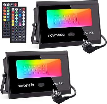 2 x 20W Focos LED RGB Exterior, Novostella Foco Proyector LED IP66 ...