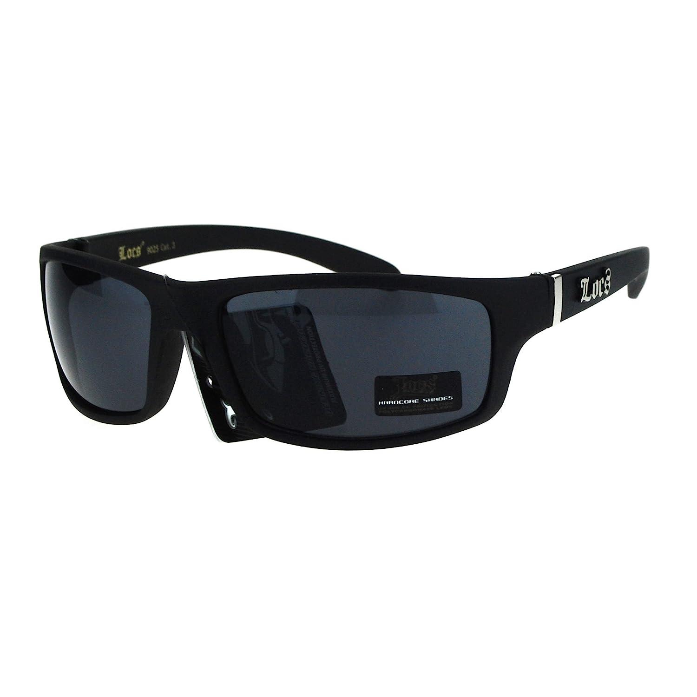 690d0d653be49 Amazon.com  Locs All Black Mad Dog Cholo Rectangular Gangster Biker  Sunglasses Matte Black  Clothing