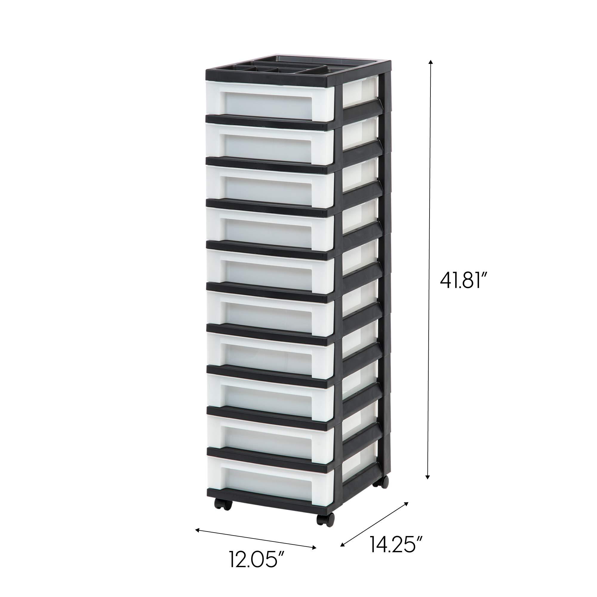 IRIS USA, Inc. MC-3100-TOP 10-Drawer Cart with Organizer Top, Black/Pearl by IRIS USA, Inc.