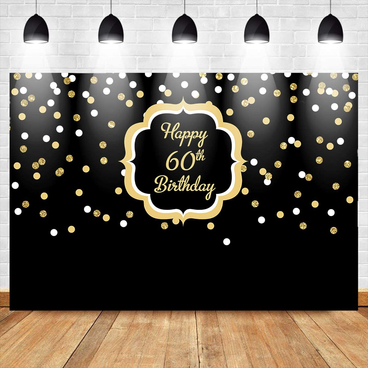 Mocsicka 60th Birthday Decoration Backdrops for Photography 8x6ft Glitter Gold and White Black Photo Background for Parties Banner Props for Pictures Gifts