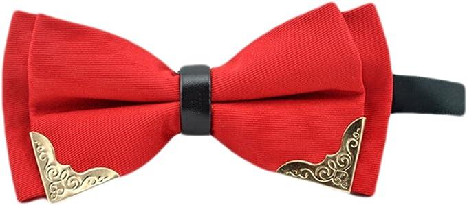 MENDENG Mens Red Black Paisley Plaid Formal Bow Tie Silk Adjustable Bowtie Ties