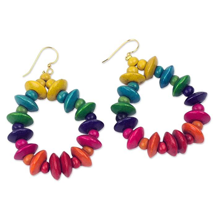 NOVICA Rainbow Wood Beaded Dangle Earrings with Brass Hooks, Joyous Celebration'