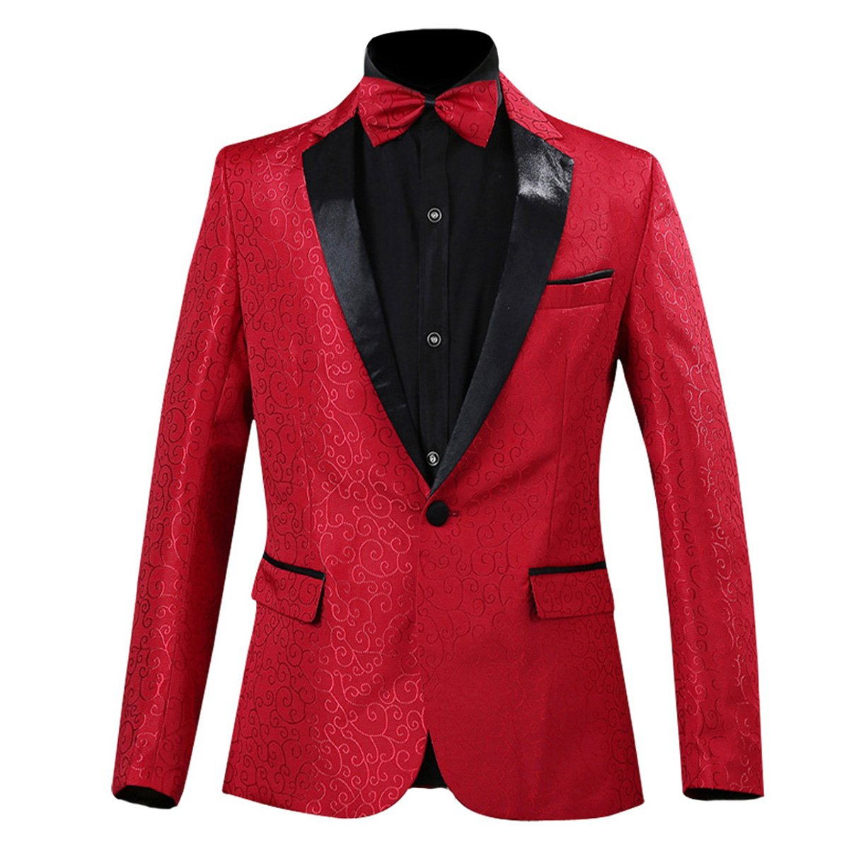 PYJTRL Men's Fashion Slim Fit Floral Jacquard Suit Jacket (Red, Tag M/US 36R) by PYJTRL