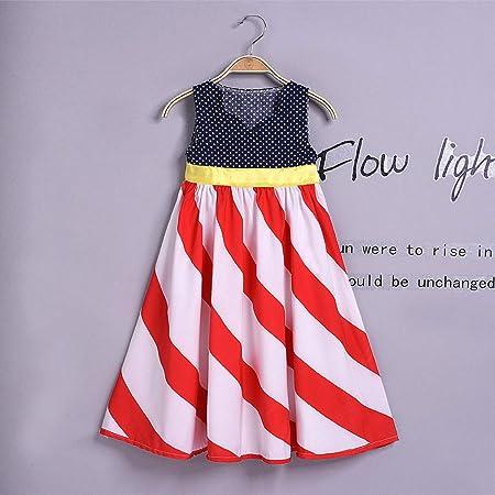 Amazon.com: Children Girl Summer Cute Bow Dress Off Shoulder 4th of ...