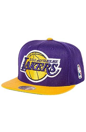 Amazon.com  Los Angeles Lakers Big Logo Purple Yellow Snapback  Clothing c523db31b6bc