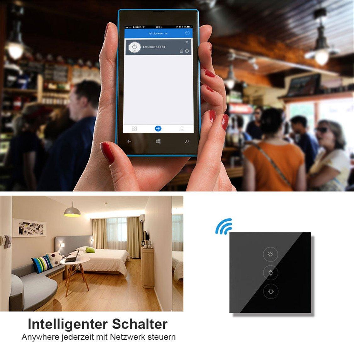 Wlan Lichtschalter,Smart Home Wifi Wireless Lichtschalter Touch Glas ...