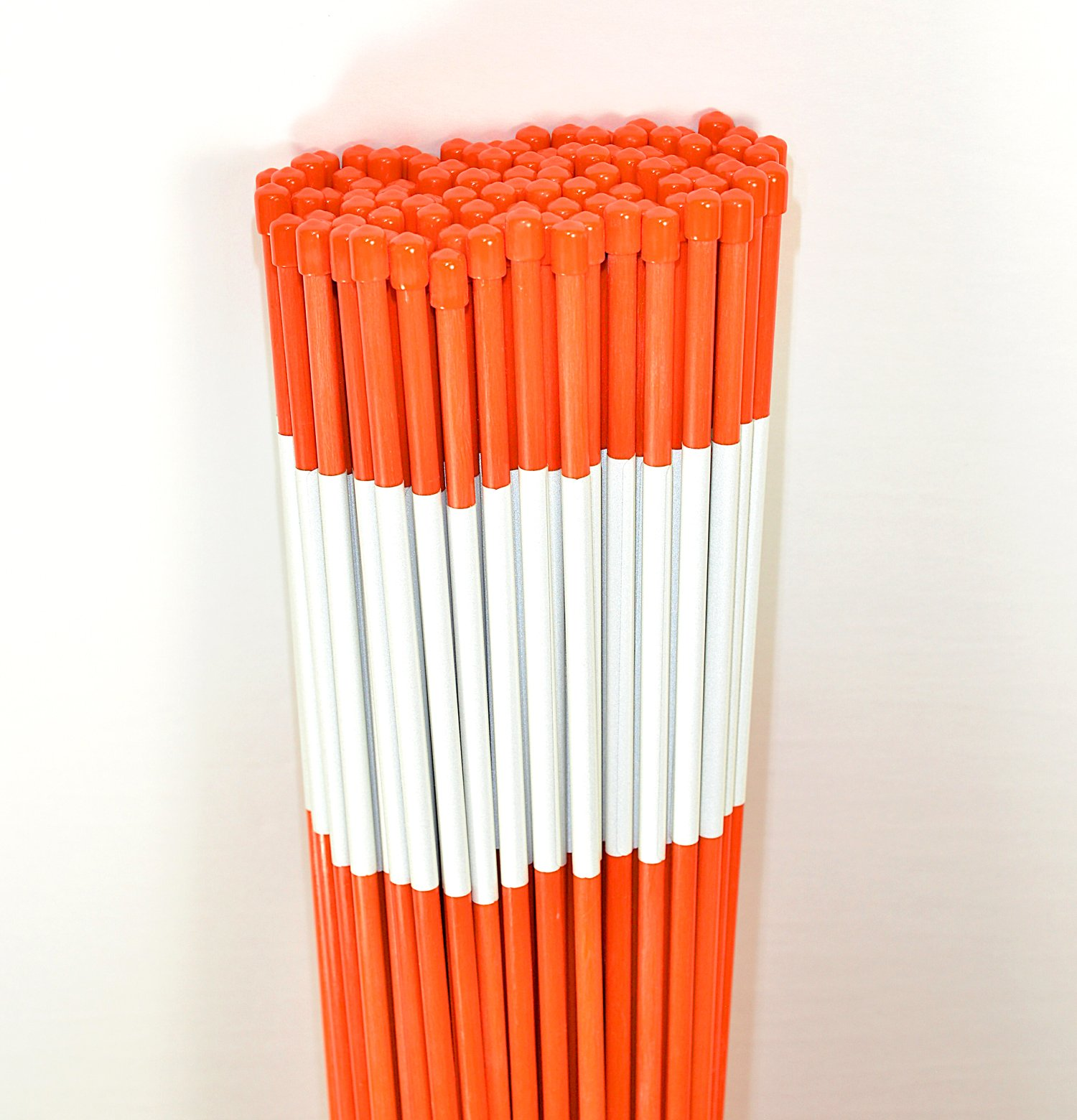 Driveway Marker, Snow Stakes, Plow Stakes, Reflective Tape, 5/16'' Diameter x 48'', Fiberglass, Orange, 100 Pack