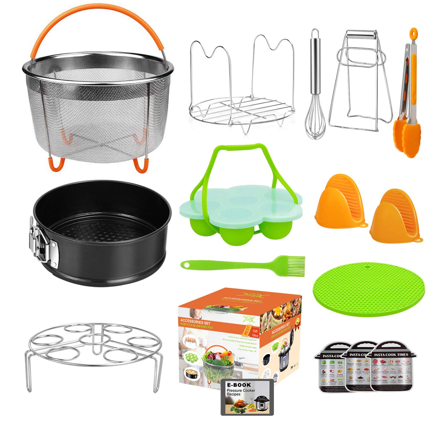 YXWIN 15 pcs Accessories for Instant Pot Compatible with Pressure Cooker 6,8 Qt, Includes Steamer Basket,Tongs, Springform Pan, Silicone Egg Bites Mold, Mitts, Magnetic Cheat Sheets(BONUS RECIPES) by YXWIN