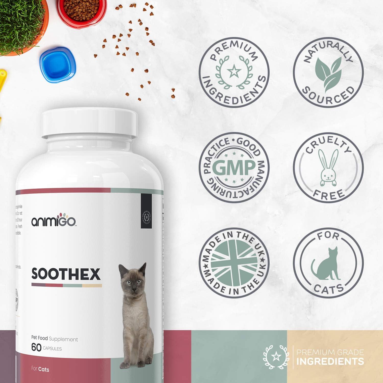 Animigo Soothex para Gatos | Suplementos Naturales con Aminoacidos Esenciales | Relajante sin Efecto Somnífero | para Gatos con Ansiedad y Estres por Separación, Viajes y Ruidos | 60 Cápsulas: Amazon.es: Productos para mascotas