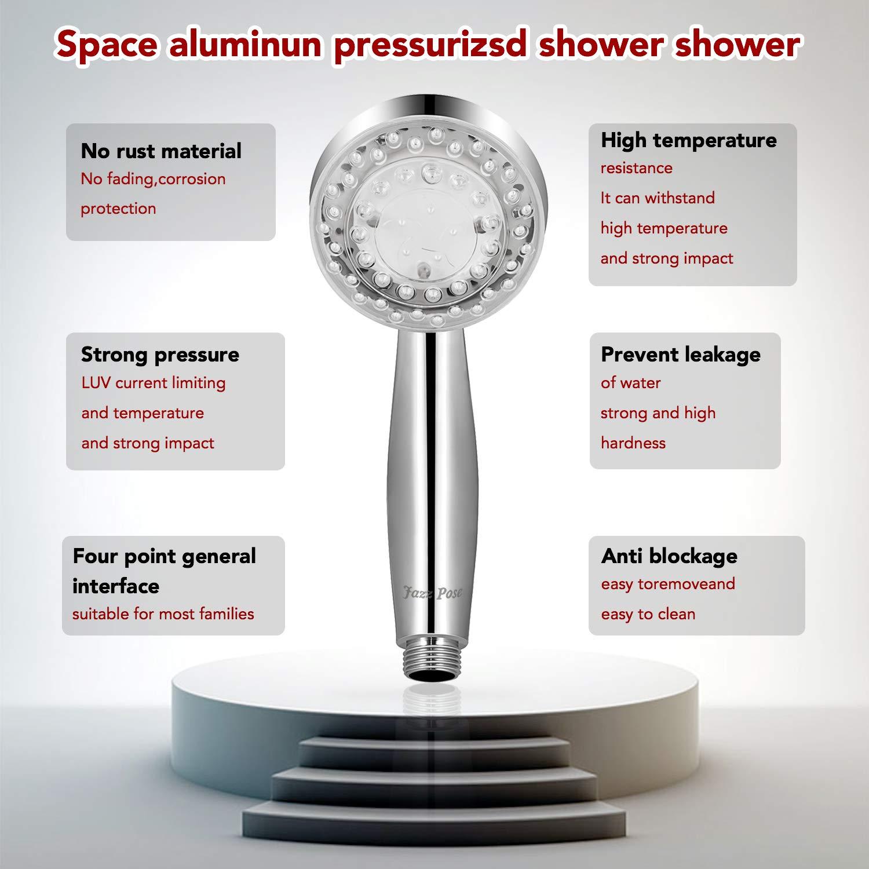 ABS Chrom Brausekopf Handheld Hochdruck Wasserspar Universal Armatur Jazz Pose 5 Modus Funktions Regendusche Duschkopf