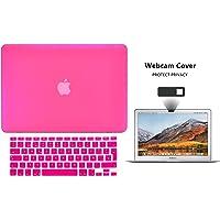Protector Funda Case para Macbook + Protector Skin Cover de Teclado en Español + Webcam Cover AntiSpy Rosa Fuerte Macbook Air 13'' Model: A1369 / A1466