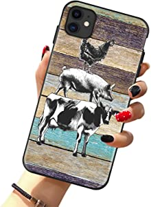 Farm Animals Case for SE 2020, iPhone 8 & iPhone 7 Case, Farm Animal Cow Pig Chicken Retro Wood Texture Case for Girls/Women Flexible Silicone Shockproof Drop Protection Case for iPhone 7/8 4.7 inch