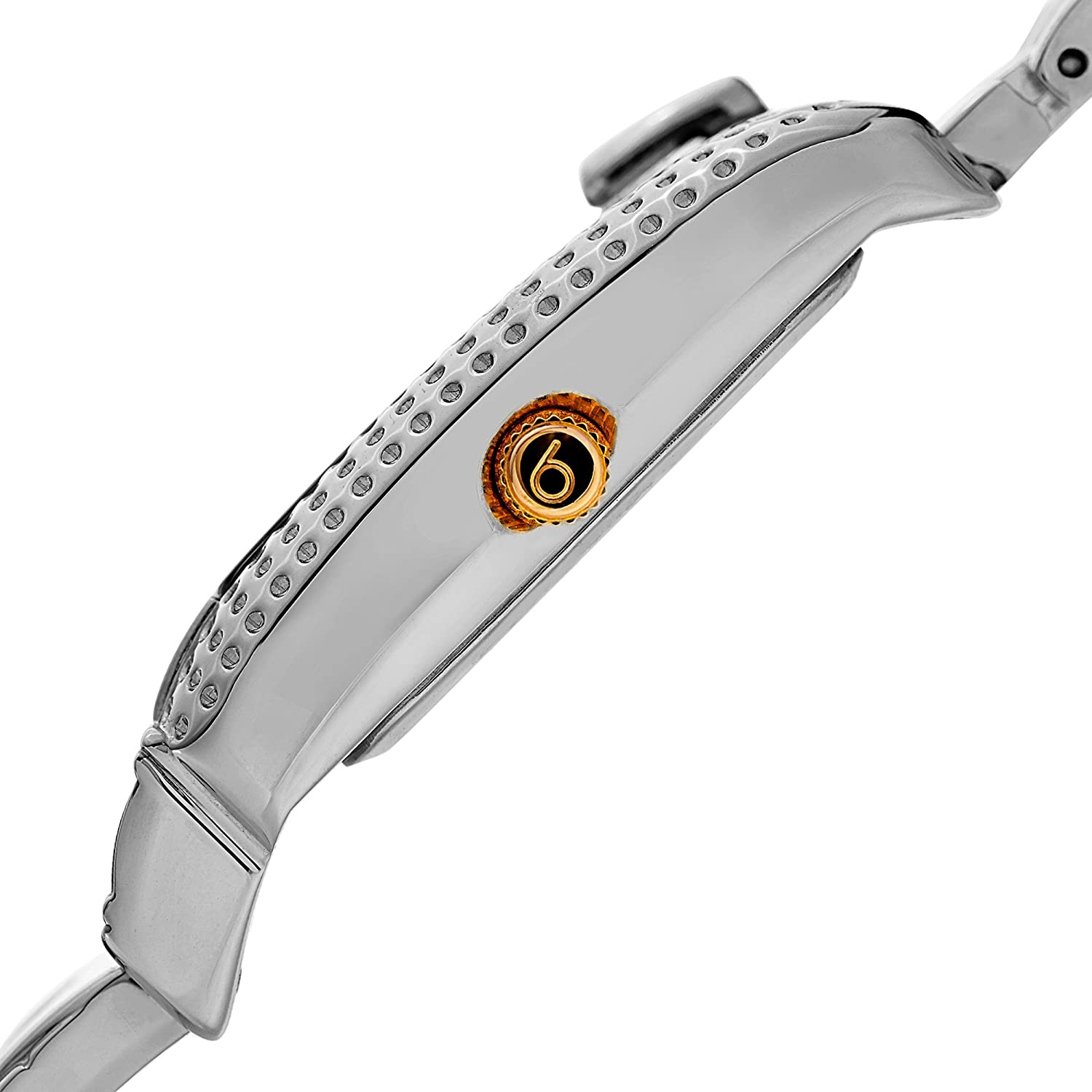 Burgi Women's Rectangle Diamond Luxury Watch - Mother of Pearl Dial with 3 Diamond Hour Markers On Stainless Steel Link Bracelet - BUR171 Two-Tone Gold