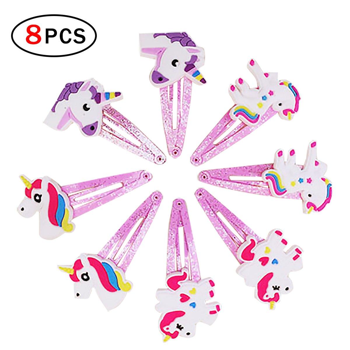 Newin star - Forcine per capelli da bambina, con decorazioni di unicorno, ideali come regalo per feste e compleanni, 4 paia