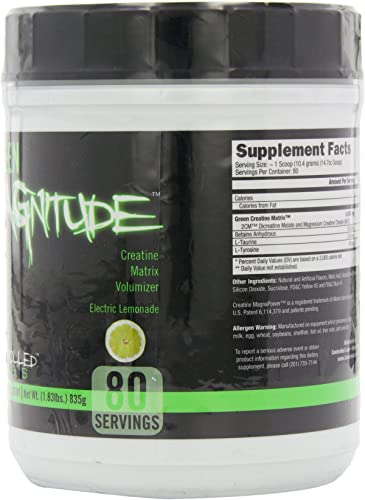 Controlled Labs Green Magnitude, Creatine Matrix Volumizer, 80 Serving, Green Lemonade, 2-Pound Plastic Jar