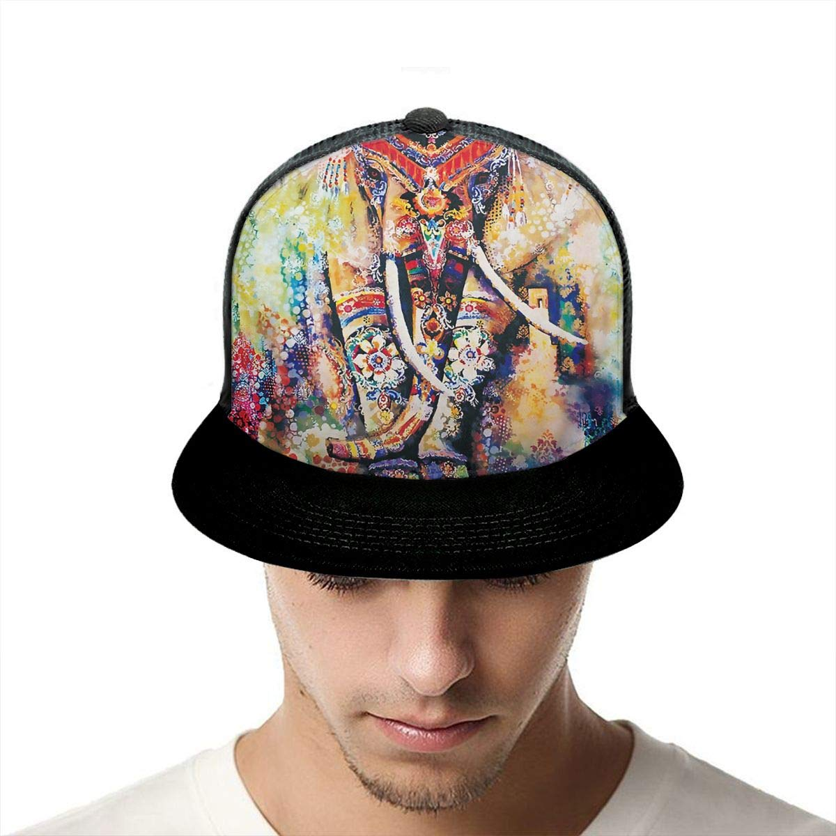 Low Profile Snapback Hat for Unisex Mens and Womens 100/% Polyester Psychedelic Elephant Baseball Cap