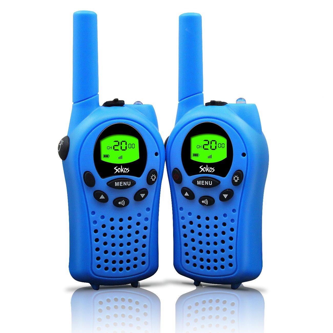 Walkie Talkies for Kids, 22 Channel Walkie Talkies 2 Way Radio 3 Miles (Up to 5Miles) FRS/GMRS Handheld Mini Walkie Talkies for Kids (Pair) (Blue)