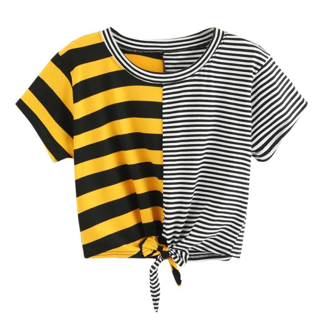 Womens Striped Patchwork Crop Tops Kanpola Ladies Fashion Short Sleeve Round Collar Tee Bandage Bowknot T Shirt Blouse