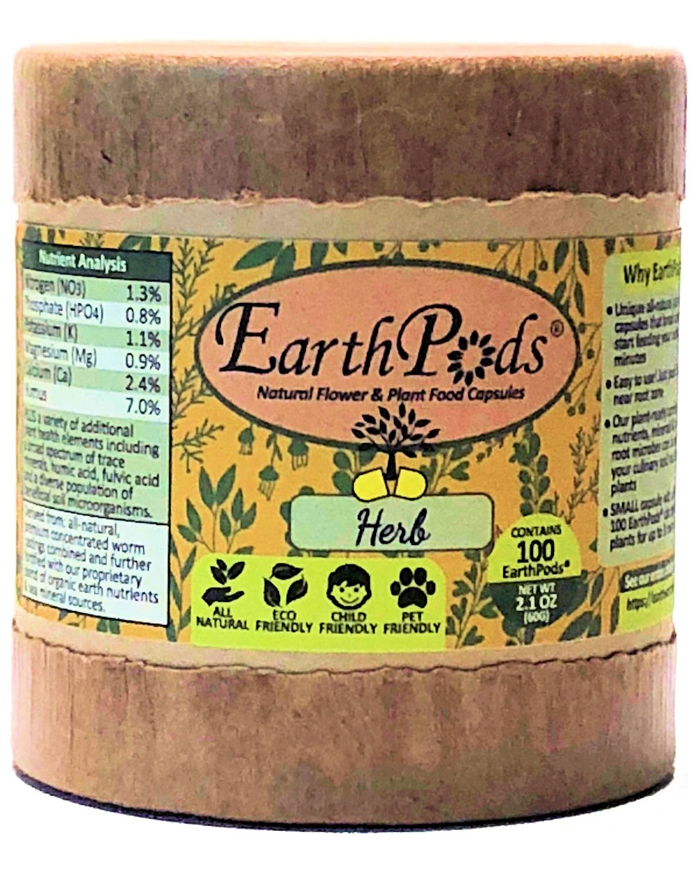 EarthPods HERB + VEGETABLE Bio Organic Fertilizer Capsules (100 Spikes, NO UREA, Feeds 10 Plants for 1 Year, Ecofriendly Plant Food for Culinary Kitchen Herbs, Vegetables & Medical Houseplants) by Earthworm Technologies (Image #1)