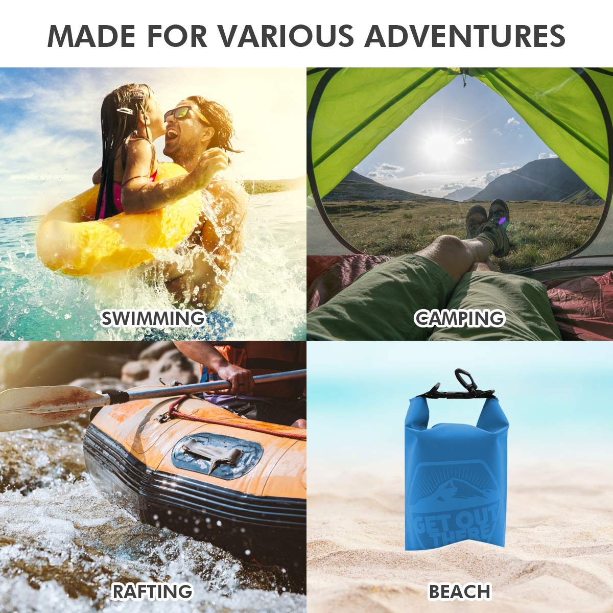 Perfect for Kayaking Boating Canoeing Fishing Rafting Swimming Camping Snowboarding Sack with Long Adjustable Shoulder Strap Included ROCONTRIP Premium Waterproof Bag