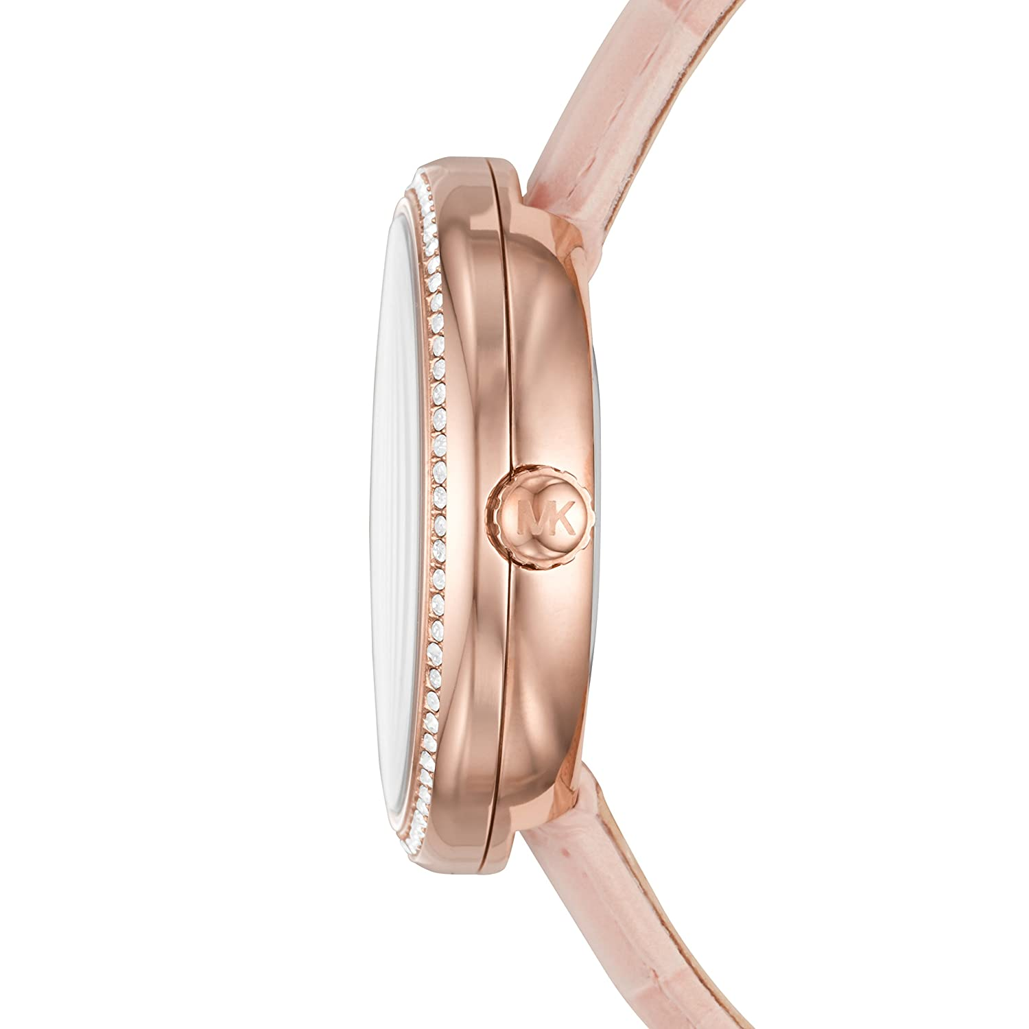 ff0417c9bf28 Amazon.com  Michael Kors Women s Courtney Stainless Steel Analog-Quartz  Watch with Leather Calfskin Strap