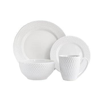 Elle Decor 6829-16-RB Bridgette Porcelain Dinnerware Set, White