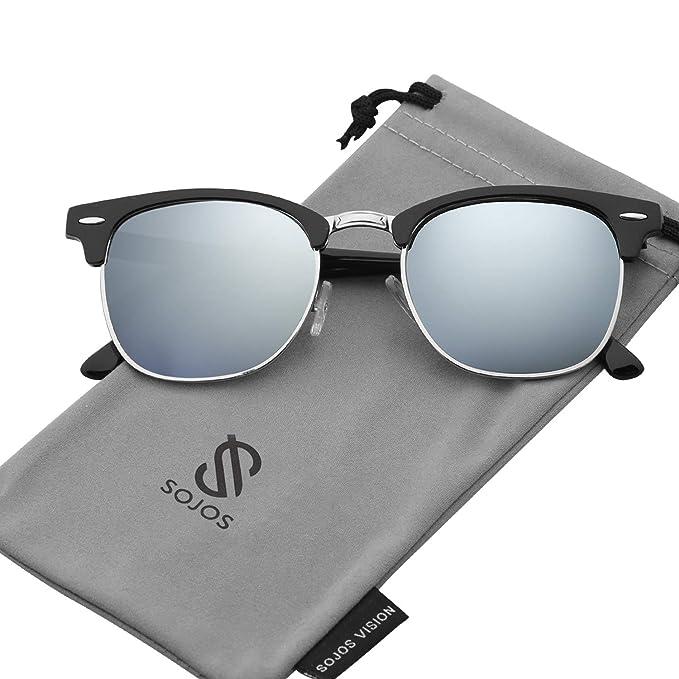 SOJOS Gafas de sol polarizadas sin montura Semi lente transparente SJ5018 Marco Negro/Lente Plateado