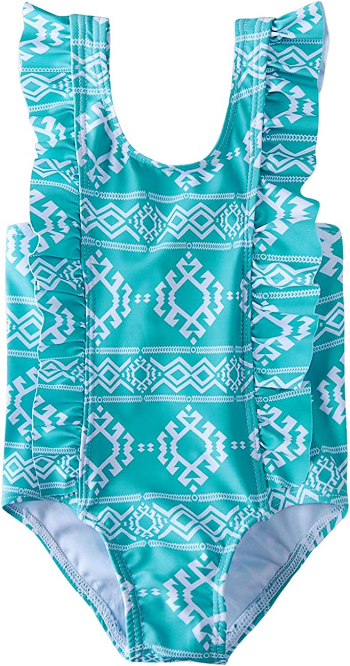 RAISEVERN Toddler Baby Girls Swimsuit Ruffles Bathing Suit Cute Beach Sport One Piece Swimwear Backless Bikini Tankini 1T-5T