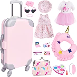 VLUSSO American Doll Accessories Case Luggage Travel Play Set for 18 Inch Dolls Travel Storage, American Doll Stuff with Doll Clothes and Accessories Camera Travel Pillow, 17 Pcs