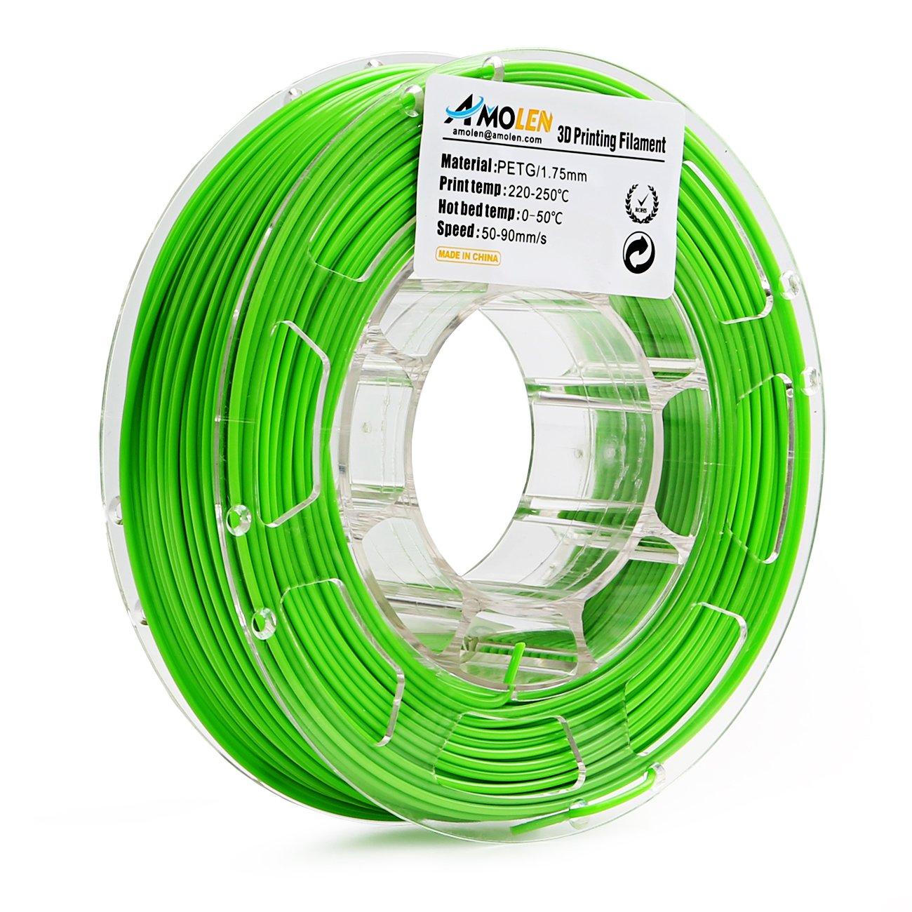 Spool. 0.5LBS AMOLEN 3D Printer Filament PETG 1.75mm Green +//- 0.03 mm 225g