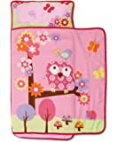 Baby Boom Woodland Kids Nap Mat Set ? Includes Pillow and Fleece Blanket ? Cute Owl Design - Great for Girls Napping during Daycare Preschool or Kindergarten - Fits Toddlers and Young Children