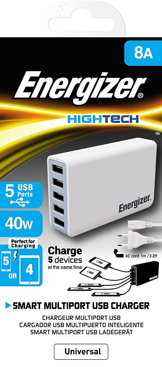 Energizer 40W/8A 5 Port USB Charger,  White