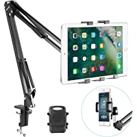 Neewer Universal Smartphone & Tablet Stand (Sturdy Metal Arm, Padded Holder, Adjustable Mounting Clamp) for iPhone 6 Plus, Galaxy Note 5, iPad Air/iPad Air 2, Samsung Galaxy Tab and More-Black