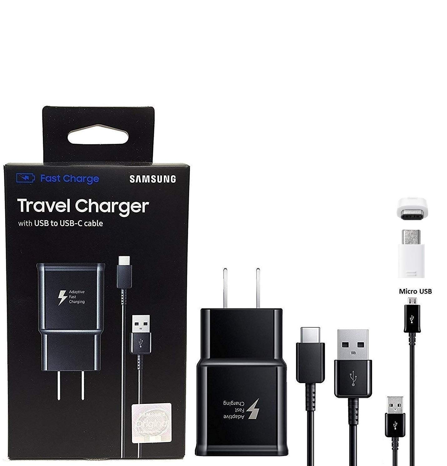 Official Samsung Adaptive Fast Charging Charger - With C TYPE & Micro USB, Micro To C Adapter For S8,S9,S10,+,Note8,Note9 (Retail Packing Bundle) by Samsung