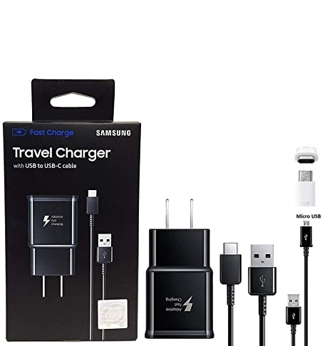 Official Samsung Adaptive Fast Charging Charger - With C TYPE & Micro USB, Micro To C Adapter For S8,S9,S10,+,Note8,Note9 (Retail Packing Bundle)