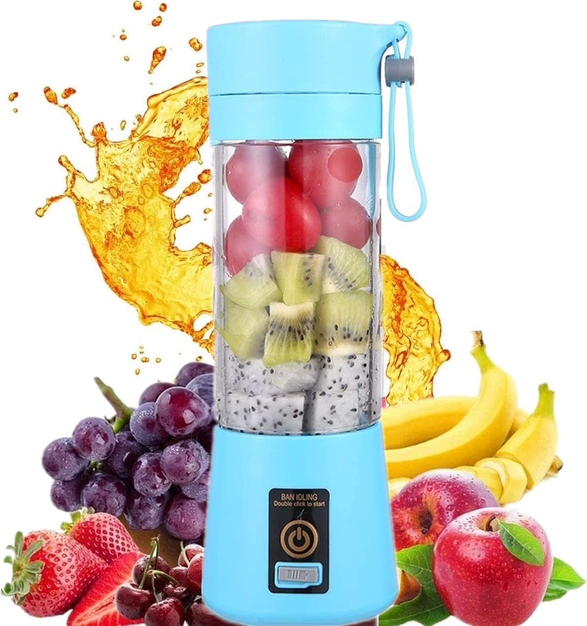 HANBO Electric Portable Juicer Blender Cup, Household Fruit Mixer with Six Blades in 3D, 380ml USB Rechargeable Juice Blender Magnetic Secure Switch Electric Fruit Mixer (Light Blue)