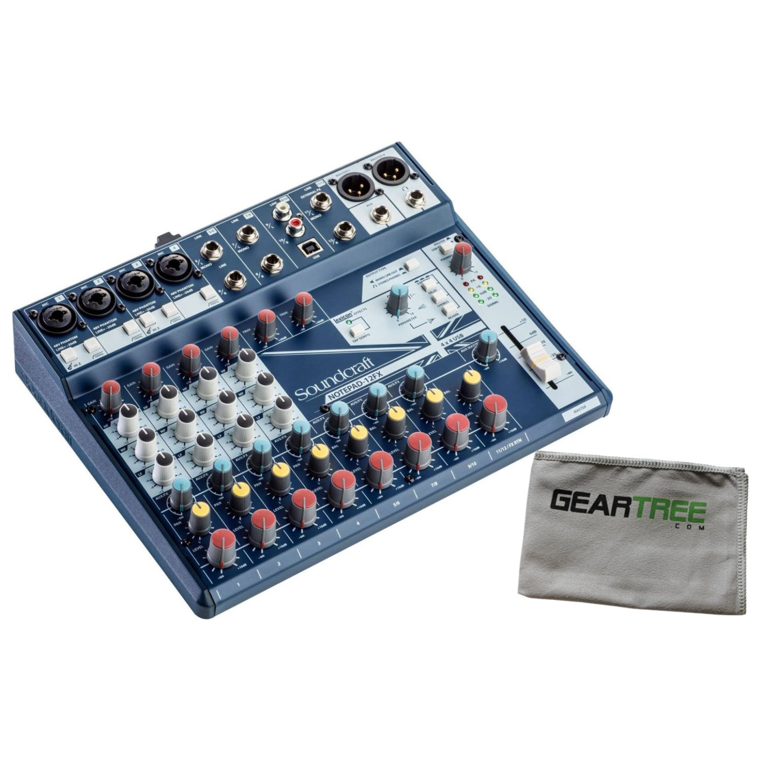 Soundcraft Notepad 12FX Mixer w/Microfiber Cleaning Cloth