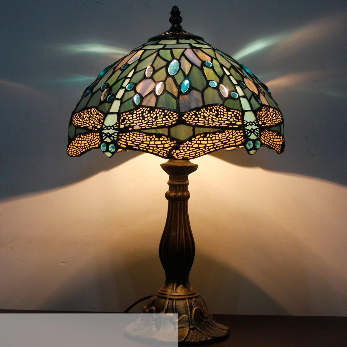 Tiffany Lamp With Sea Blue Stained Glass and Crystal Bead Dragonfly Table Lamp In Height 18 Inch For Living Room by WERFACTORY (Image #8)