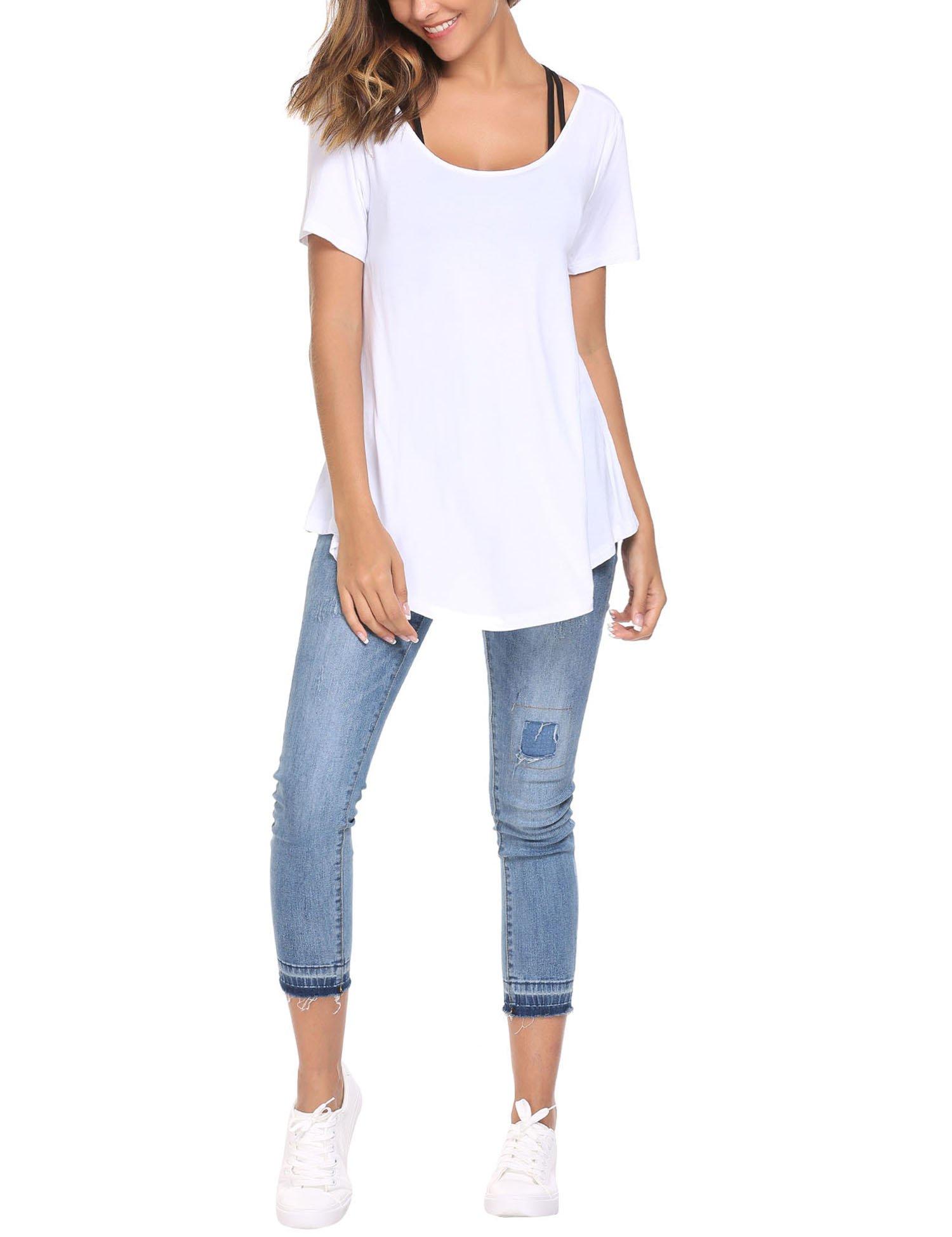 ELESOL Women Slim Fit Summer Tops Lightweight Basic High Low Hem T-Shirts White XXL by ELESOL (Image #4)