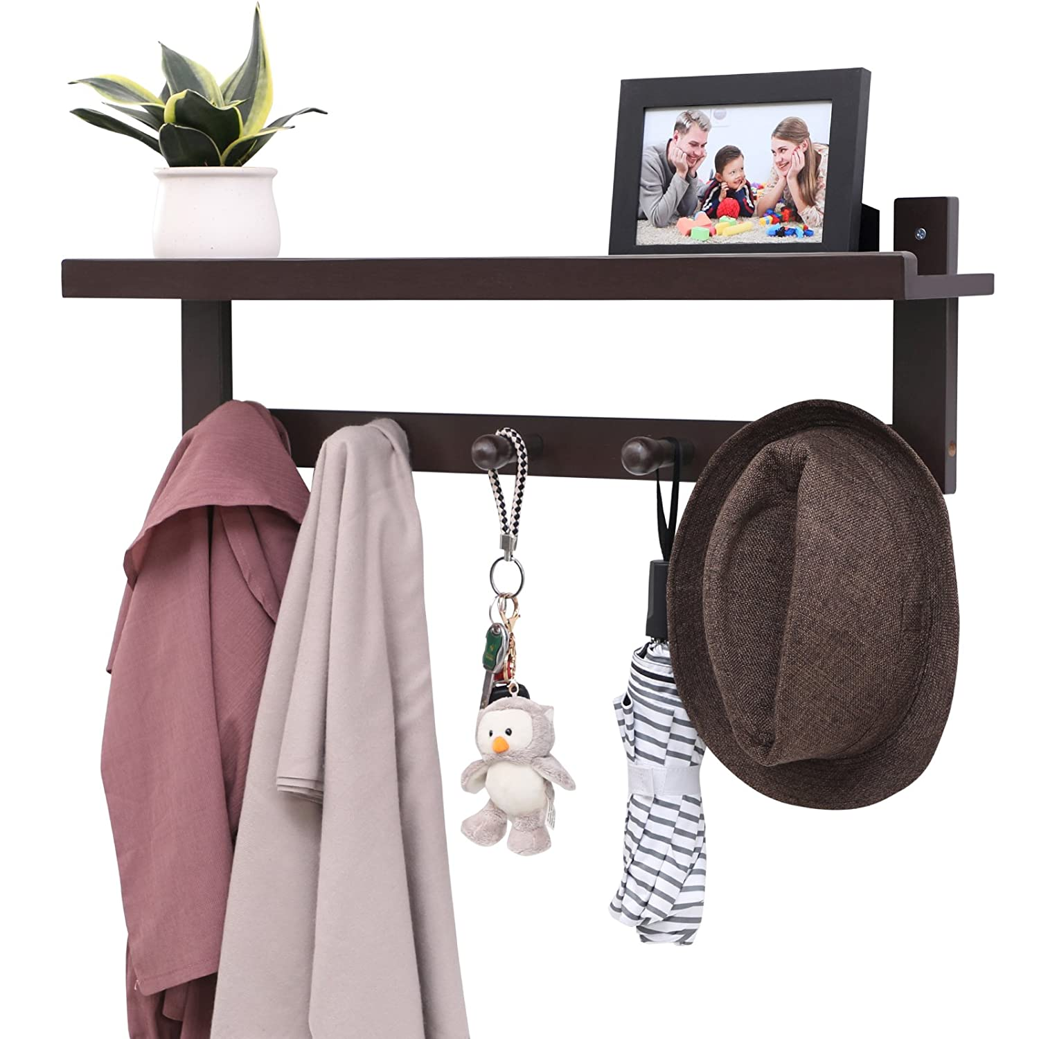 SONGMICS Bamboo Entryway Shelf with 5 Hooks, Wall Mounted Coat Rack with Storage, Hanging Entryway Shelf, Ideal for Living Room Bedroom Bathroom and Kitchen Brown URCR105BR